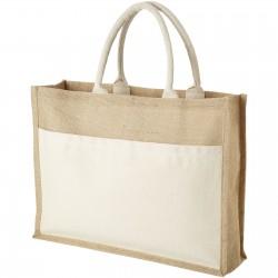 Sac shopping publicitaire en PP non tissé - Blanc et Vert